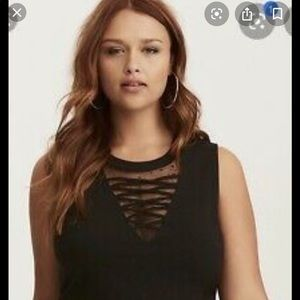 Torrid- Black Peplum Mesh Top